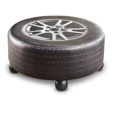 Tire Coffee Table for Man-Cave or Garage, Fiberboard PU Leather Car Room Ottoman