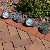 Sunnydaze Decorative Garden Rock Solar Light with White LED Light - Set of 4