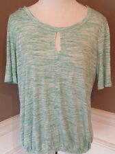 Bobeau M Short Sleeve Shappy Chic Variegated Light Green Scoop Neck Knit Top