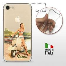 iPhone 7 TPU CASE COVER PROTETTIVA GEL TRASPARENTE VINTAGE Vespa Pinup
