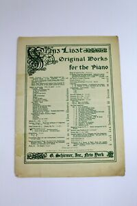 Vintage Piano Sheet Music Franz Liszt Original Works Schirmer