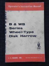 1960's CASE B & BW SERIES WHEEL-TYPE DISC HARROW OPERATORS MANUAL VERY GOOD