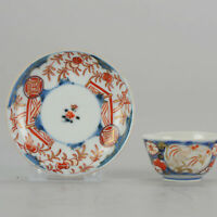 "18C Japanese Porcelain Cup & Saucer Birds Imari 'Flowers"" Antique Edo Pe..."