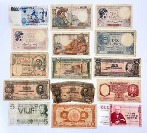 Various World Foreign Currency Paper Money Banknotes Notes MIX BUNDLE LOT OF 15