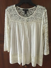 Karen Kane NEW White Lace Cotton Top Size S SHEER Sleeve  Blouse $118 NWT