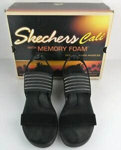 Sketchers Cali Memory Foam Womens Size 9 Rumblers Black Wedge Sandal Shoes