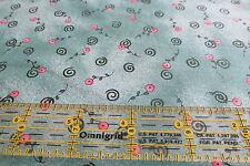 Debbie Mumm cotton fabric half yard cut 1/2 green tonal pink posie flower swirl
