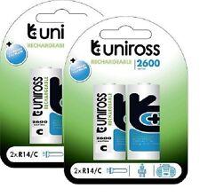 """Uniross * 4 X' C' LR14 """" 2600 Series Nimh Rechargeable Batteries R14"""