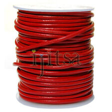 3mm round red genuine leather cord 5-yard section (spool is not included)