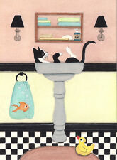 Tuxedo (tux) cat fills sink at bath time / Lynch signed folk art print