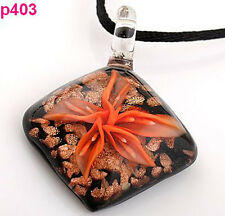 Handmade Flower Rhombus Lampwork Art Glass beaded Pendant Necklace p403
