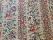 Antique French Pure Linen Indienne Floral Fabric ~Lavender Coral Rose Sage Blue