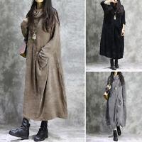 Mode Femme Chaud Casual Manche Longue Col Haut Confor Robe Dresse Maxi Plus