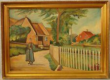 » Dorfansicht mit einer Frau in Tracht « monogrammiert