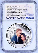 2018 Royal Wedding Prince Henry Ms. Meghan 1oz $1 SILVER PROOF COIN NGC PF69 ER