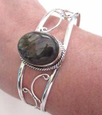 Silver Plated Bracelet With 100% Genuine Natural Golden Labradorite (bra0104)