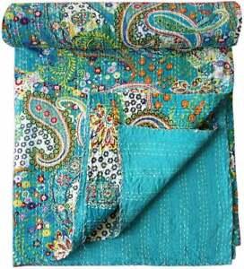 Indian Handmade Turquoise Paisley Design Kantha Quilt Cotton Kantha Blanket Hand