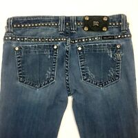 Miss Me Womens Jeans Size 27 Medium Wash Distressed Straight Studded Blinged