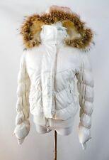 Italien Femmes Vintage 90 S crème duvet d'oie fourrure véritable à capuche Manteau Veste Sz M BK18