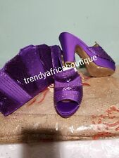 Purple Italian Slipper platform shoe and matching  purse. Sold as a set. Price i