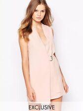 Asos Wrap Dress 8 Navy Twin Sister Sleevless Mini Buckle NWT