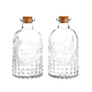 MyGift Set of 2 Vintage Embossed Clear Bottles Flower Bud Vases with Cork Lid