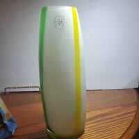 Margies Garden Hand Blown By Creative Artisans Green&White Glass Vase 11 in