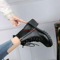 Women Punk PU Leather Motorcycle Ankle Boots Lace up Zipper Chunky Heel Shoes
