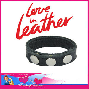 Leather 3 Button Cockring Penis Rings Bondage Fashion Rings Ball Stretchers Toys
