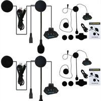 2Rechargeable Motorcycle Helmet Headset Speaker Mic Bluetooth4.0 Handsfree Music