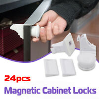 24PCS Magnetic Child Infant Baby Kids Drawer Cupboard Cabinet Door Safety Lock