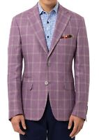 Tallia Mens Sports Coat Purple Size 46 Long Windowplane Slim Fit Linen $350 #123