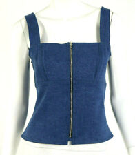 RAG & BONE $195 NWT Blue Denim Square Neck Zip-Front PAULA Jean Top M