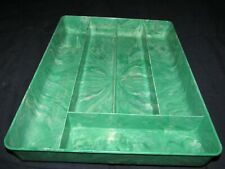 New listing Nice Vintage Green White Marble Design Nu-Dell Plastics Cutlery Silverware Tray