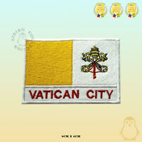 Vatican City National Flag With Name Embroidered Iron On Sew On Patch Badge