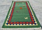 Hand Knotted Woven Vintage Pictorial Kilim Kilm Wool Area Rug 4.5 x 2.5 Ft
