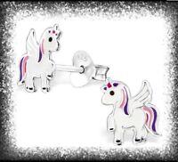 Cute Childrens Girls Sterling Silver Purple & Pink Unicorn Stud Earrings - Boxed