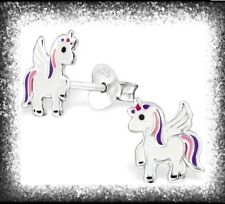 Childrens Girls Sterling Silver Purple & Pink Unicorn Stud Earrings - Boxed
