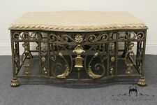 High End Ornate Metal and Stone 44? Square Coffee Table