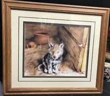 DAVE MERRICK BABY WOLF FRAMED, Lithograph, , Special Glass,1995, 31 x 28 inches