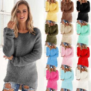 Womens Lightweight Thin Tee Shirt Woolen Ladies Pure Basic Jumper Blouse Tops