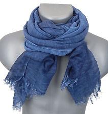 Herrenschal blau by Ella Jonte breiter leichter Schal Baumwolle Viskose unisex