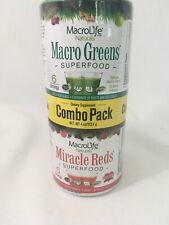Macrolife Superfood Macro Greens Miracle Red Combo Pack Raw Probiotic Vegan 4 OZ