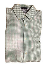 Lacoste Alligator Men's Long Sleeve Dress Shirt Sz 42 Large Green & White Checks