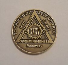aa bronze alcoholics anonymous 35 year sobriety chip coin token medallion