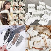 Girl Crystal Hair Clips Snap Barrette Diamond Hairpin Hair Pin Bobby Hairclip