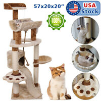 "57"" Cat Tree Tower Condo Furniture Scratching Post Pet Kitty Play House Hammock"
