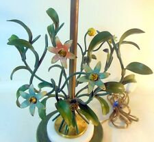 Vtg TOLE Metal Painted Lamp Bell Flowers Italy Garden Chic