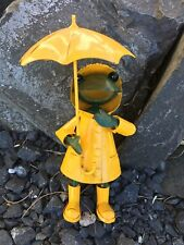 NEU * Frosch im Regen *  Handarbeit Metall Gartendeko Deko Figur Garten 19 cm