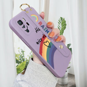 For Xiaomi 6 8 9 10 10T Pro Poco Rainbow Wristband Case Shockproof Cover